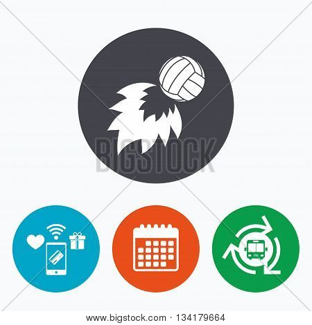 Volleyball fireball sign icon. Beach sport symbol. Mobile payments, calendar and wifi icons. Bus shuttle.