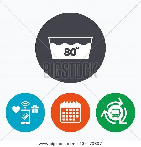 Wash icon. Machine washable at 80 degrees symbol. Mobile payments, calendar and wifi icons. Bus shuttle.
