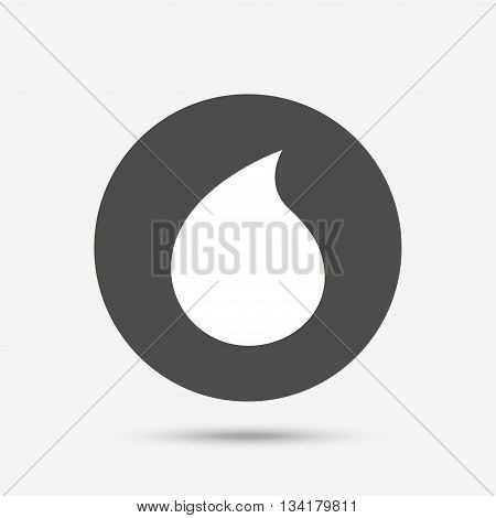 Water drop sign icon. Tear symbol. Gray circle button with icon. Vector