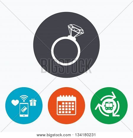 Ring sign icon. Jewelry with diamond symbol. Wedding or engagement day symbol. Mobile payments, calendar and wifi icons. Bus shuttle.