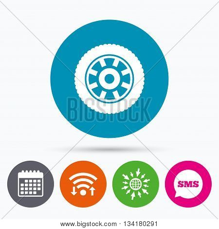 Wifi, Sms and calendar icons. Car wheel sign icon. Circular transport component symbol. Go to web globe.