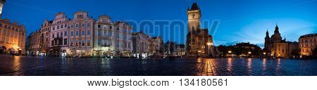 PRAGUE, CZECH REPUBLIC - June 06, 2016: Street and square of night Prague