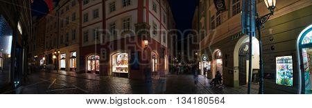 PRAGUE, CZECH REPUBLIC - June 06, 2016: Street and square of night Prague
