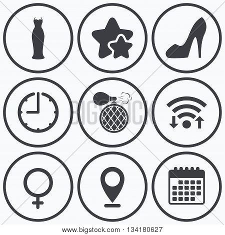 Clock, wifi and stars icons. Wedding dress icon. Women shoe sign. Perfume glamour fragrance symbol. Calendar symbol.