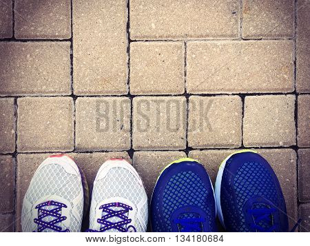 women and men Sneakers top view exercise concept