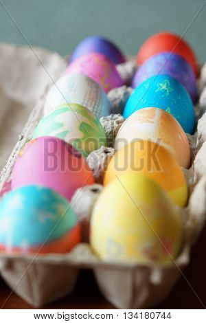 Colorful decorated eggs at Easter in Spring