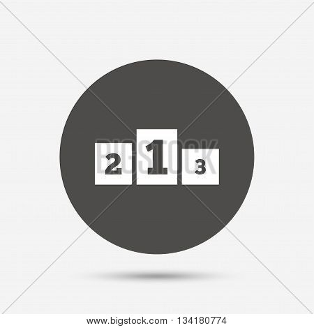 Winners podium sign icon. Awarding of winners symbol. Gray circle button with icon. Vector
