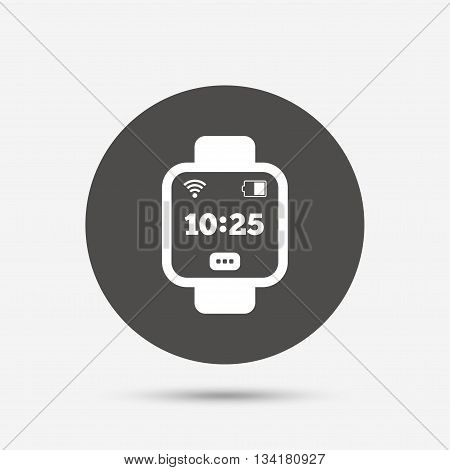 Smart watch sign icon. Wrist digital watch. Wi-fi and battery energy symbol. Gray circle button with icon. Vector