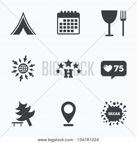Calendar, like counter and go to web icons. Food, hotel, camping tent and tree icons. Wineglass and fork. Break down tree. Road signs. Location pointer.