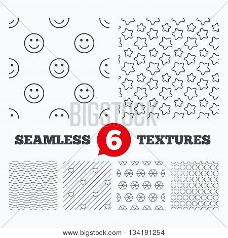 Waves and geometry design. Stars, hearts and smile circles seamless textures. Linear geometric patterns. Modern textures. Material patterns.