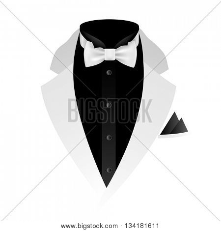 Illustration of tuxedo with bow tie on white background.