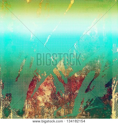 Vintage textured background with copy space. Old style backdrop with different color patterns: yellow (beige); brown; green; blue; pink; cyan