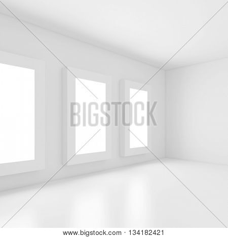 3d Illustration of White Modern Interior Design. Abstract Architecture Background
