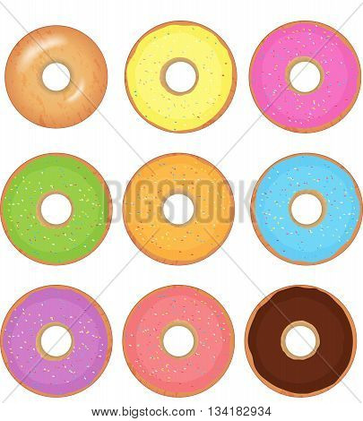Donut vector set isolated on a white background