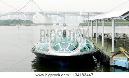 Sightseeing Boat In Japan Odaiba Bay, Bridge