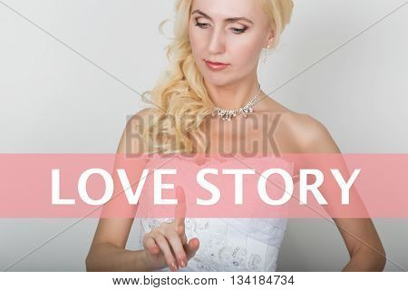 technology, internet and networking concept. Beautiful bride in fashion wedding dress. Bride presses love story button on virtual screens.
