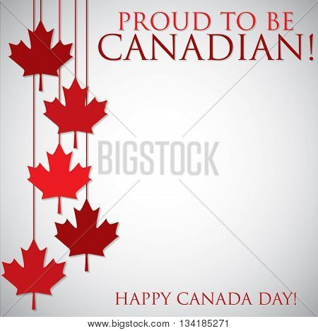 Hanging Maple Leaf Canada Day Card In Vector Format.