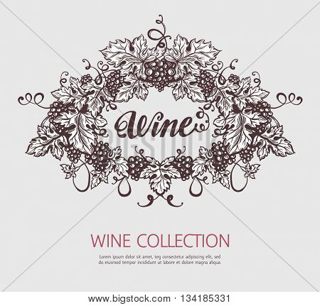 Grapes wreath sketch template. Wine and wine making vintage illustration. Vector design.