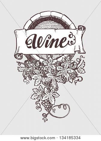 Wine and wine making vintage vector barrel with grapes decoration. Vector illustration. Handdrawn sketch style.