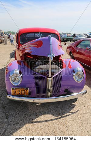 BROOKLYN, NEW YORK - JUNE 8, 2014: Historical 1940 Ford on display at the Antique Automobile Association of Brooklyn annual Spring Car Show in Brooklyn, New York
