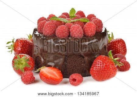 Chocolate cake with raspberries on a white background