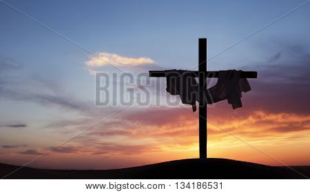Dramatic Easter Morning Sunrise with Easter Cross