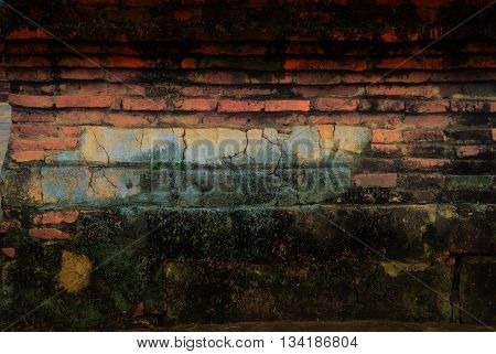 The red brown old bricks in the ruin