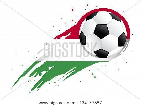 Vector illustration of a soccer ball with abstract Hungary insignia brush strokes