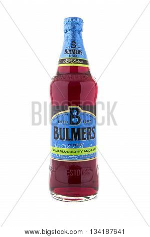 SWINDON UK - JUNE 12 2015: Bottle Of Bulmers Wild Blueberry and Lime Cider on a White Background Bulmers owned by H. P. Bulmer of Hereford. It is one of the leading British cider brands in the UK
