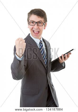 businessman winning, using touch pad of tablet pc, isolated