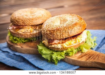Bagel with bacon and egg
