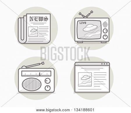 News media icons set