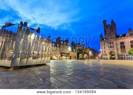 ABERDEEN - MAY 27 2016: The Mirrored Pavillion in the Castle Gate for Visual Art and Design Festival in Aberdeen Scotland on 27th May 2016
