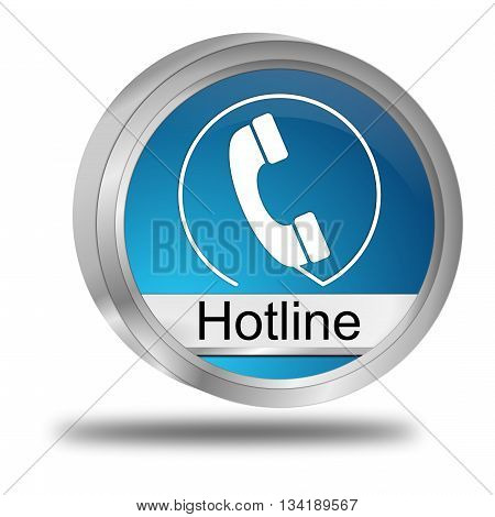 glossy blue Hotline Button - 3D illustration