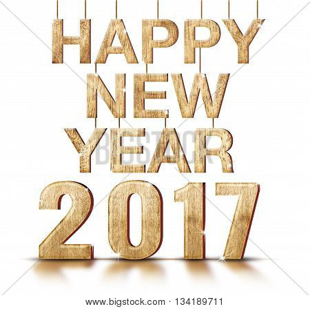 Happy New Year 2017 Year Number On White Studio Background,holiday Greeting Card Concept