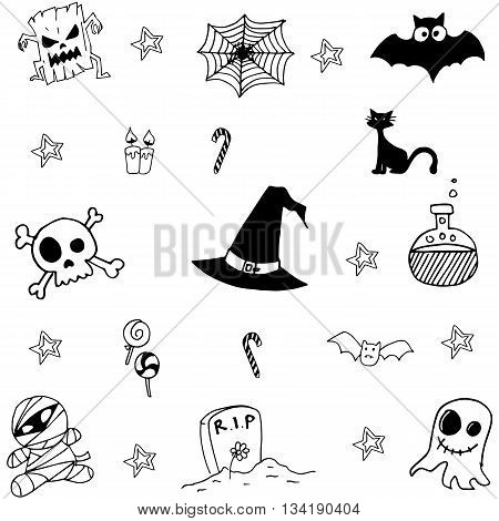 Halloween scary doodle vector art collection stock