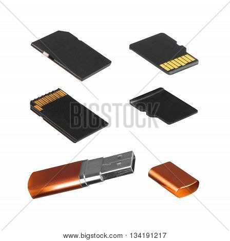 SD Card mini-SD Card and flash drive on white