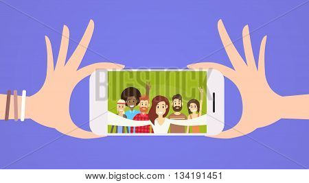Smart Cell Phone People Group Taking Selfie Photo Flat Vector Illustration