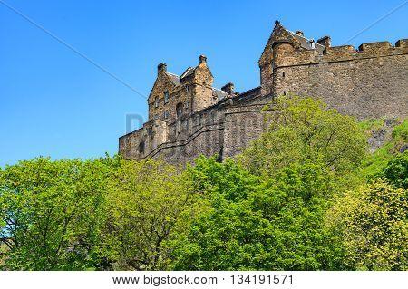 Edinburgh Castle on a beautiful clear sunny day