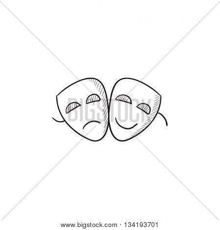 Two theatrical masks vector sketch icon isolated on background. Hand drawn Two theatrical masks icon. Two theatrical masks sketch icon for infographic, website or app.