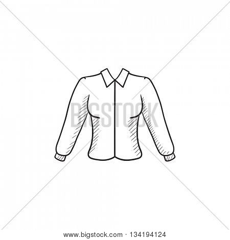 Female blouse vector sketch icon isolated on background. Hand drawn Female blouse icon. Female blouse sketch icon for infographic, website or app.
