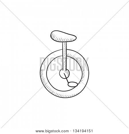One wheel bicycle vector sketch icon isolated on background. Hand drawn One wheel bicycle icon. One wheel bicycle sketch icon for infographic, website or app.