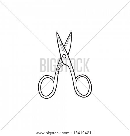 Nail scissors vector sketch icon isolated on background. Hand drawn Nail scissors icon. Nail scissors sketch icon for infographic, website or app.