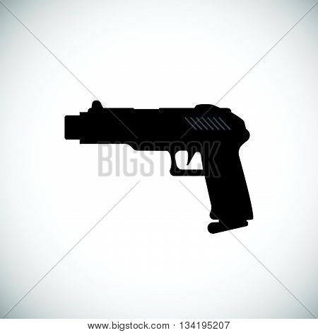 Pistol Or Gun Icon. Black Gun Illustration. Vector Gun.