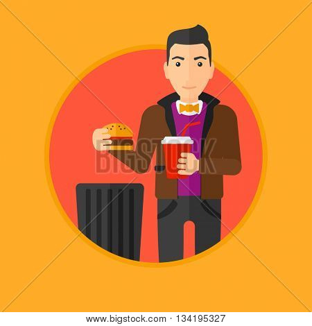 Man putting junk food into trash bin. Man refusing to eat junk food. Man rejecting fast food. Man throwing junk food. Diet concept.Vector flat design illustration in the circle isolated on background.