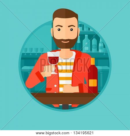 A hipster man sitting at the table with glass and bottle of wine. Man drinking wine at bar. Man enjoying a drink at wine bar. Vector flat design illustration in the circle isolated on background.