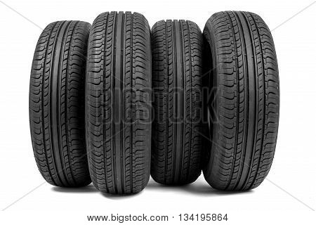 Stack of wheels. Isolated on white background