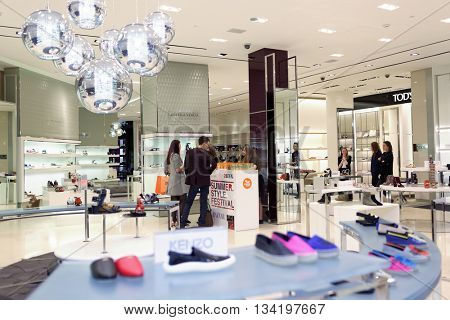 ST. PETERSBURG, RUSSIA - MAY 20, 2016: People in the department store DLT during the Summer. Style. Festival. The event is dedicated to the 20th anniversary of the Harper's Bazaar magazine in Russia