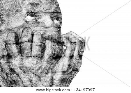 Emotionally Unbalanced Elderly Man With His Hands Near The Face