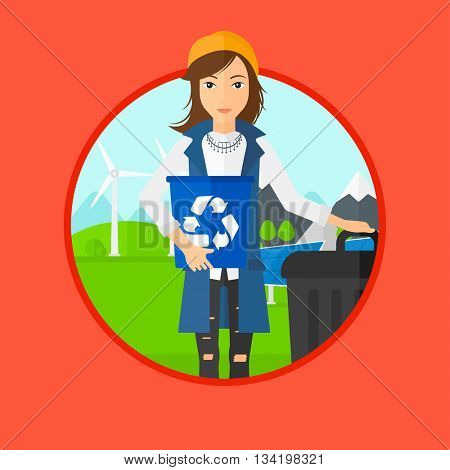 Woman carrying recycling bin. Woman with recycling bin standing near a trash can on a background of wind turbine and solar panel. Vector flat design illustration in the circle isolated on background.